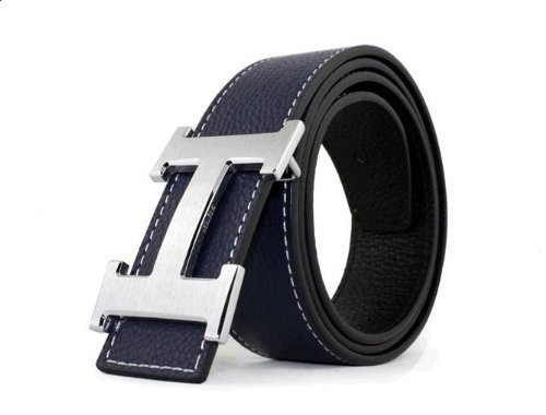 Leather Logo Buckle Belt (Dinamit Men's H Reversible Leather Belt With Removable Buckle Black with Silver)