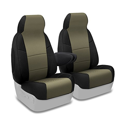 (Coverking Custom Fit Front 50/50 High Back Bucket Seat Cover for Select Ford Excursion Models - Spacermesh 2-Tone (Taupe with Black Sides) )