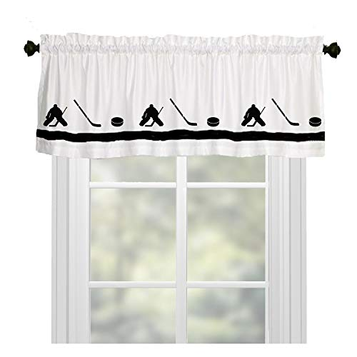 Hockey Player Goalie Window Valance Curtain – In Your Choice of Colors – Custom Made