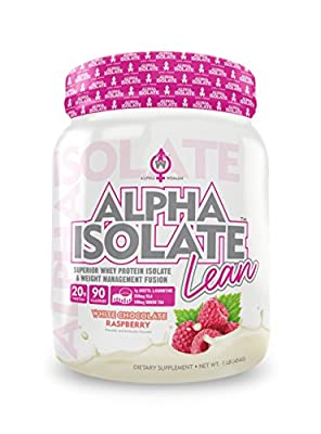 ALPHA ISOLATE LEAN - Weight Loss Protein for Women with Acetyl L-Carnitine & CLA ? 2-In-1 Whey Protein Isolate & Weight Management for Fat Loss & Lean Muscle Support, White Chocolate Raspberry, 1 LB