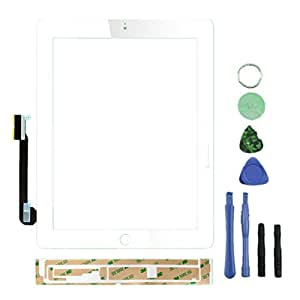 Front Panel Digitizer Touch Screen Glass for Ipad 3 3rd or Ipad 4 4th Gen Generation+tools (SJK052 White)