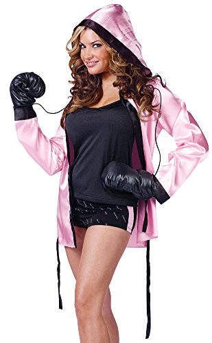 [Knockout! Pink Boxer Robe & Boxing Gloves] (Knock Out Costumes)