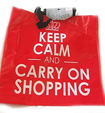 Keep Calm And Carry On Shopping Red tote