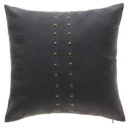 TINA'S HOME Grey Rivet Decorative Throw Pillows with Down Feather Filling | Solid Color Accent Pillow with Brass Studs (20x20 inches,Gray)