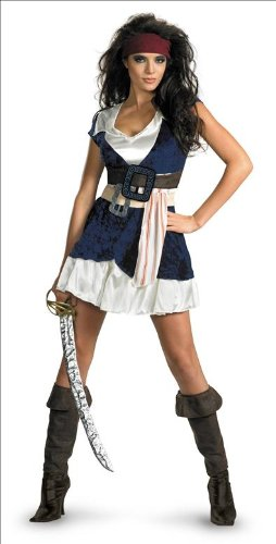 [Disguise Unisex Adult Sassy Jack Sparrow, Blue/White, Large (12-14) Costume] (Jack White Halloween Costume)
