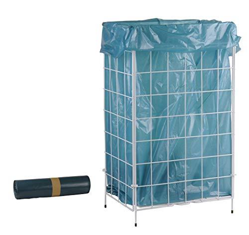 SemyTop ST-88450 Abfallkorb Zusammenlegbar, Weiß, Metall Beschichtet (1 Abfallkorb + 20 Müllbeutel)