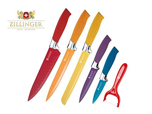 Zillinger Swiss Antibacterial Ceramic Coated Diamond Cut Chromium Stainless Steel Blades Knife Set (6, Solid)