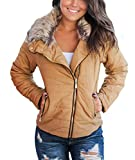 Blibea Womens Casual Parka Jacket Winter Coats Faux Fur Collar Zip Up Quilted Outdoor Coat Outerwear Medium Brown