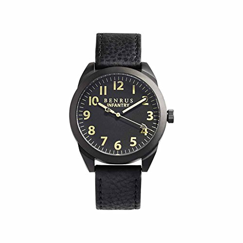 BENRUS Men's BR024-B Infantry Watch with Black Leather Band
