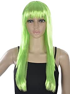 Simplicity Women Fashion Straight Long Wig Synthetic Hair W/bangs,green