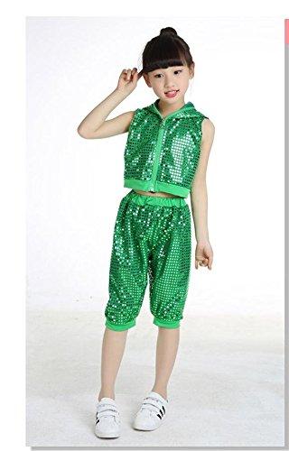 QXJ Costumi bambini da performance di danza di paillettes hip hop  abbigliamento abbigliamento da danza per 514bde53b5c9