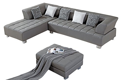 American Eagle Furniture Aventura Collection Modern Bonded Leather Tufted Sectional Sofa With Chaise on Left and Ottoman, - Leather American Sectional
