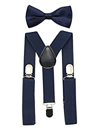 JAIFEI Suspender&Bow Tie Set-Adjustable Strong Clip-on Suspender for Boys&Girls (Navy)