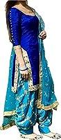 Surat4fashion Women's Blue Cotton Silk Patiala Salwar suit set(ST101_Blue_FreeSize)