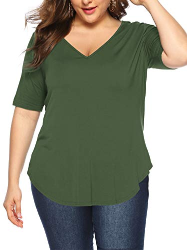Amoretu Womens Plus Size Summer Tops Solid Color 1/2 Sleeve V Neck T Shirts(Army Green,XL)