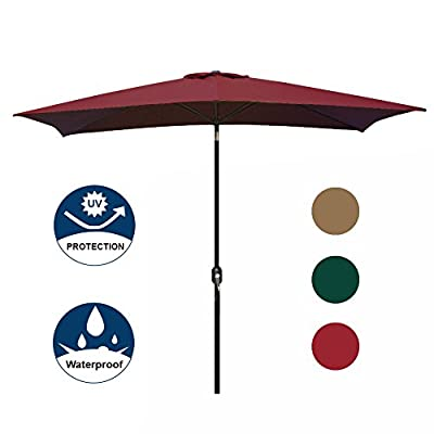 Blissun Rectangular Patio Umbrella Outdoor Market Table Umbrella with Push Button Tilt and Crank, 6.5 by 10 Ft (Red) - Provides up to 70 sq. ft. of shade, ideal for both residential and commercial locations. 100% Fabric polyester, waterproof, 98% UV protection, high-quality material can be used for many years. Air vented canopy at the top designed for air flow and prevent from inversion. Crank handle for easy opening and closing, press and push button to tilt. - shades-parasols, patio-furniture, patio - 41iBwS7xwnL. SS400  -