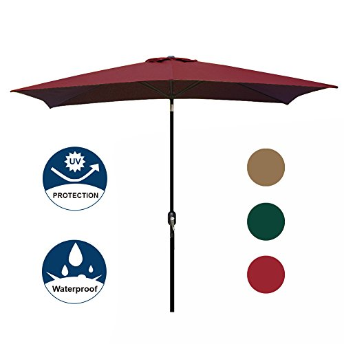 41iBwS7xwnL - Blissun Rectangular Patio Umbrella Outdoor Market Table Umbrella with Push Button Tilt and Crank, 6.5 by 10 Ft (Red)