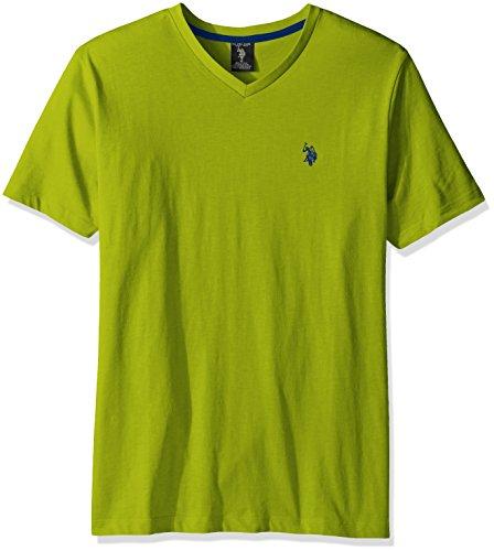 Lime Green V-neck - U.S. Polo Assn. Men's V-Neck T-Shirt, Café Lime, XL