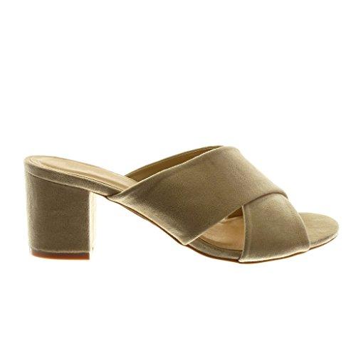 Angkorly Chaussure Talon Slip Lanière Mode Sandale Haut 7 cm Bloc Femme Beige Mule on 118rqd