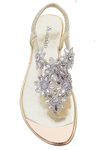 ZAFIRO BOUTIQUE MUJER Metálico De Dedo Diamante Joya Flor Elástico Pequeño Tacón Sandalias Oro