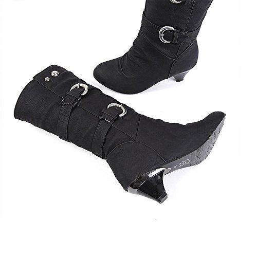 Tacón Hebilla Cortas Qxw Mujeres Scrub la Gruesa Redonda de Botas Cabeza del Black y Cinturón Alto B6w8fIqw