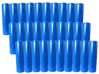 30 pcs Tenergy Li-Ion 18650 Cylindrical 3.7V 2200mAh Rechargeable Batteries w/ PCB (Flat Top) by Tenergy