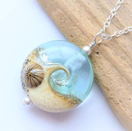 Ocean Wave Lampwork Glass Pendant Necklace, Handmade Beach Jewelry, Sterling Silver Chain