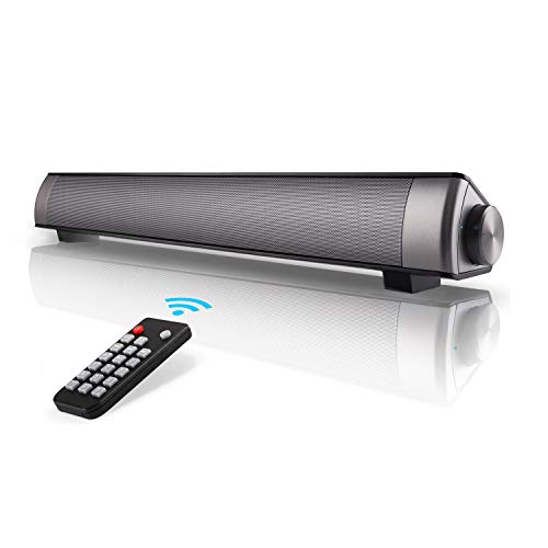 Soundbar HONEST KIN TV Sound Bar Wired & Wireless Bluetooth TV Speaker 2x5w Surround Sound Bar for PC, Tablets,Cellphone,TV [Only Support TV with AUX & RCA Output ] [NOT FIT Optical Output TV]