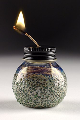 Handmade-Glass-Screwcap-Hemp-Wick-Dispenser-GreenSilver-Bonus-20ft-Wick