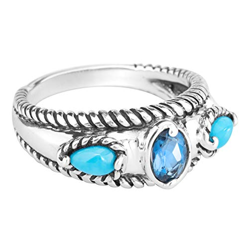 Carolyn Pollack Sterling Silver Sleeping Beauty Turquoise and London Blue Topaz Gemstone Stack Band Ring Size 9