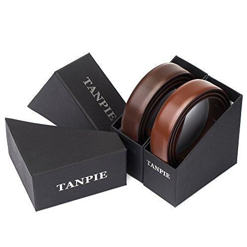 """Tanpie Reversible Belt for Men Dress Belt Leather 1 1/8"""" Wide Rotated Buckle Brown/Tan XL by Tanpie (Image #6)"""
