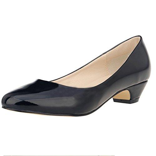 ZriEy Women's  Patent Leather Black Closed Round Toe Pumps Low Mid Kitten Heels - 8.5 B(M) US