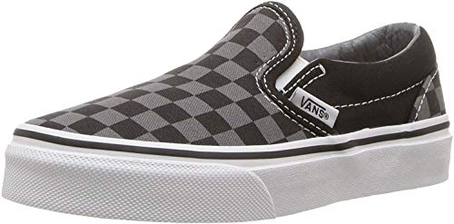 Vans Boys' Classic Slip-On (Little Big Kid), ((Checkerboard) Black/Pewter, 3 Youth (Vans Strap Shoes)