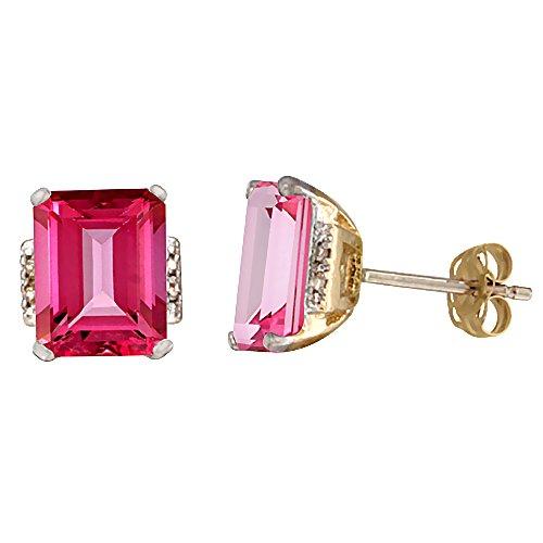 10K Yellow Gold 0.02 cttw Diamond Natural Pink Topaz Earrings Octagon 8x6 mm (Gold Pink Topaz Earrings)