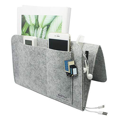 BeaYou Bedside Caddy, Upgraded Bedside Pocket, Hanging Storage Organizer Bag Holder for Remote Control, Tablet, Glasses, for Home Sofa Desk Holder with 5 Pockets,Without Chemical Smelling