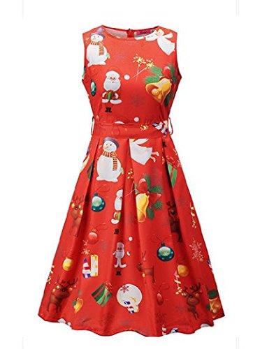 donne Da Di As4 Grande Natale '50 Orlo Hepburn Vestito Stampa Mini Coolred Partito rIqxvBr