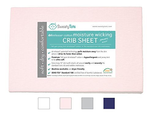 Moisture Wicking Fitted Crib Sheet for Sweaty, Leaky, Drooly Sleepers - Jersey Knit, Fits Standard Crib and Toddler Mattresses, Features Patented Drirelease(R) Moisture Wicking Technology (Pink)