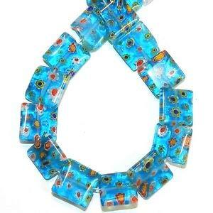 Steven_store G4036 Blue w Multiple Color Flowers 14mm Flat Square Millefiori Glass Beads 14