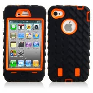 2-in 1 Tire Stripe Silicone Protective PC Case for iPhone 4/4S Orange