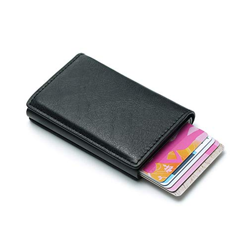 GoldLock Duopindun Newest Classy Fashion RFID Card Holder Slim Pop Up Leather Aluminium Material Men Women ID Protector Black (As Photo Shows) from GoldLock