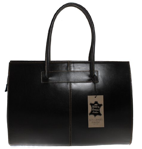 Genuine Brown 100 Made Bag 40x30x12cm With Women's Dark Shoulder Leather Handles Ctm In Italy 1OTqBZwc0