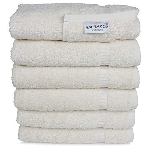 SALBAKOS Premium Organic Turkish Cotton Hand Towels 6-Pack,700 GSM,Free Shipping