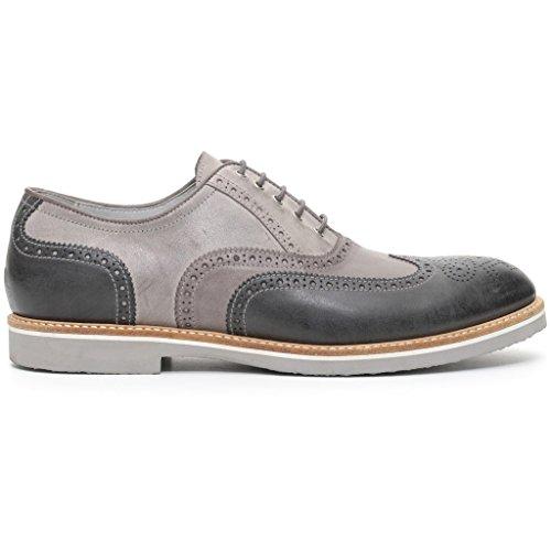 Nero Giardini - Zapatos de cordones de Piel para hombre gris antracite fumo
