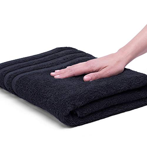 EGYPTIAN COTTON DRYFAST BATH TOWEL BY MARTEX - Premium, Luxurious, Top Hotel Quality - Soft, Absorbent, Machine Washable, Quick Drying - Black
