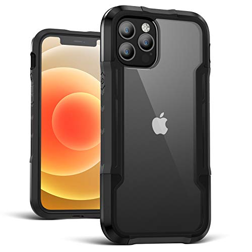 Case Compatible for iPhone 12 Pro/12/12 Pro Max/12 Mini Case,Edge Shockproof[Military Grade Drop Tested]Back Clear Cases Durable Metal Anodized Aluminum Frame+Flexible TPU+PC Protector (Black, For iPhone 12 Pro Max)