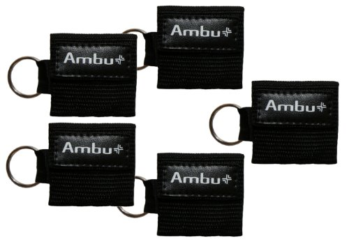 AMBU CB-3021-005-BLK Black Nylon Res-Cue Key CPR Mask with Mini Keychain Pouch (Pack of 5)