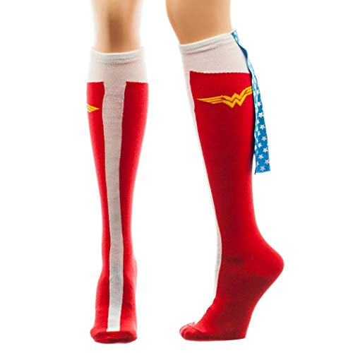 Wonder Woman Caped Boot Knee High Socks, sock size 9--11, fits shoe size 5-10 -