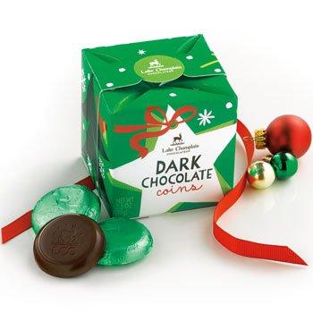 Lake Champlain Christmas Organic Dark Chocolate Coin Box, 13 Pieces, 3.5 Ounces