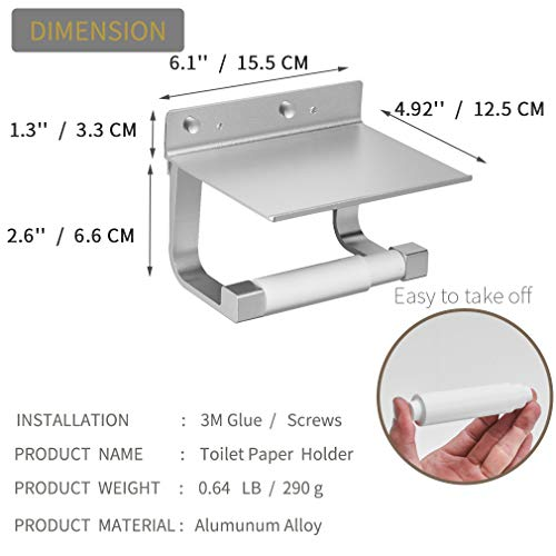 BESy Self Adhesive Pivoting Toilet Paper Holder Shelf, Bathroom Tissue Roll Hanger Mobile Phone Storage Shelf, Aluminum, Drill Free Glue Wall Mount Screws, Dull Polished Silver by BESy (Image #2)