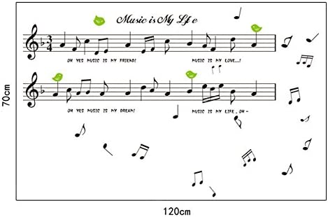 481d2123b8a705 Fangeplus(R)DIY Removable Large Fashion Music Musical Notes Treble Stave  Art Mural Vinyl Waterproof Wall Stickers Kids Room Decor Nursery Decal  Sticker ...